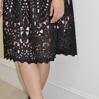 Flat 135 X Taiwan designer palace wind black basket empty embroidery lace fabric French big round skirt attached to the pocket lace skirt gauze skirt Peng skirt waist elastic comfortable inside fresh air texture party wear wedding wear