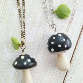 Black, Mushroom Necklace, Forest Jewelry, Gift for her