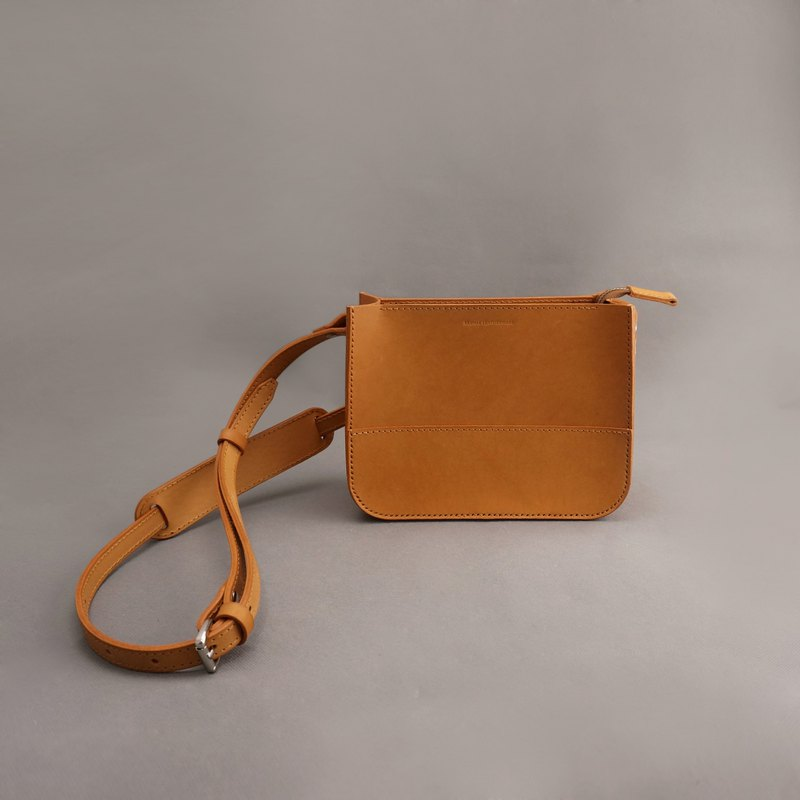 Etta leather leather carry bag side backpack crossbody / tan vegetable tanned leather / handmade bag