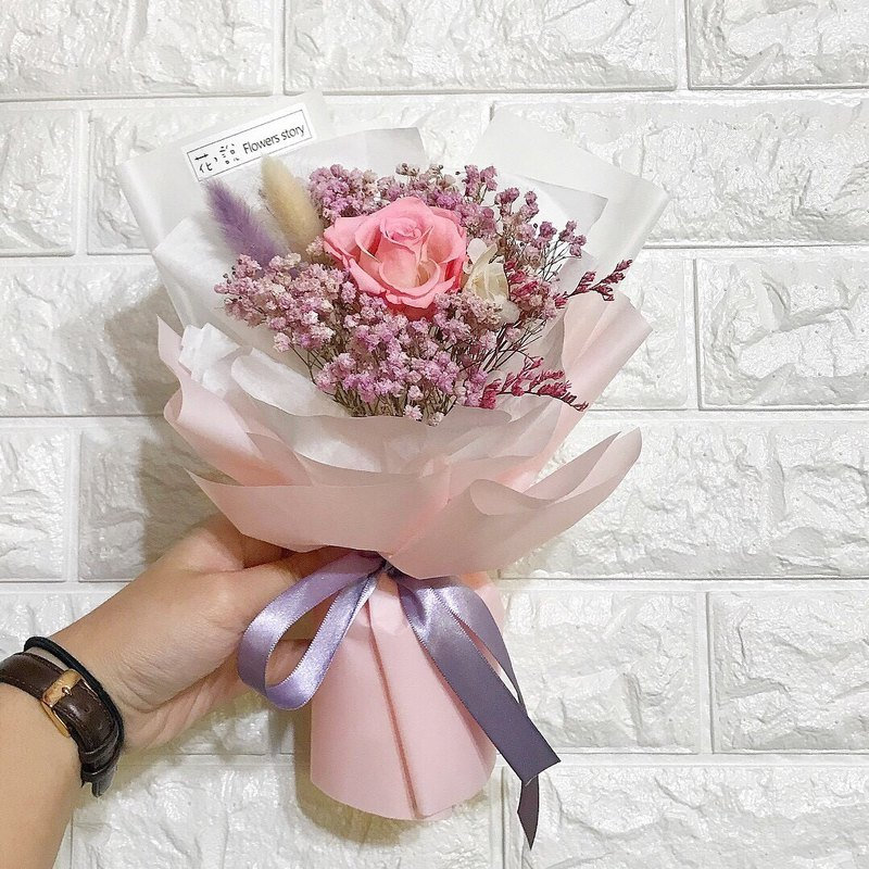 少女心-粉紫配色永生玫瑰花束
