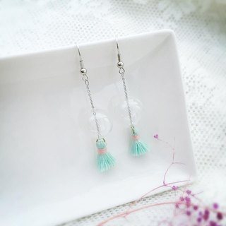 LaPerle geometric light green glass bead earrings tassel transparent bubble ball birthday gift