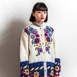 Vintage bloom flowers three-dimensional knit vintage cardigan