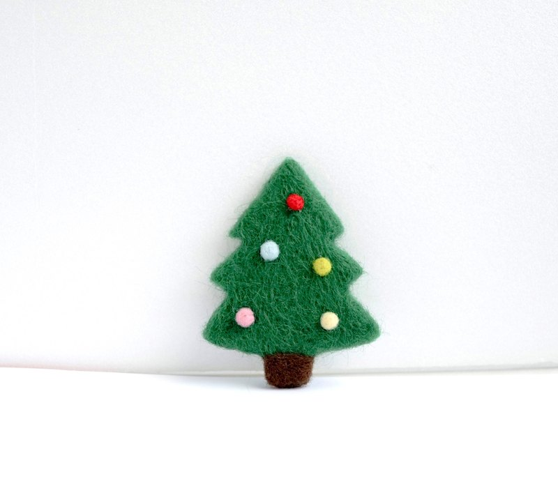 Colorful winter Christmas tree wool felt