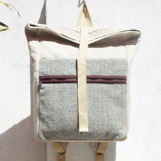 Tanabata gift limited handmade natural cotton linen backpack / shoulder bag / national mountaineering bag / travel backpack / computer bag / hand bag - plant dyed green cover backpack