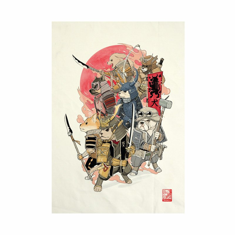 7 Samurai Dog Fabric Art  Canvas No frame