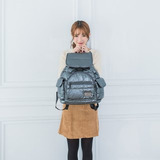 Classic plain section 【Super storage multi-compartment bag】 Behind the backpack - bright gray