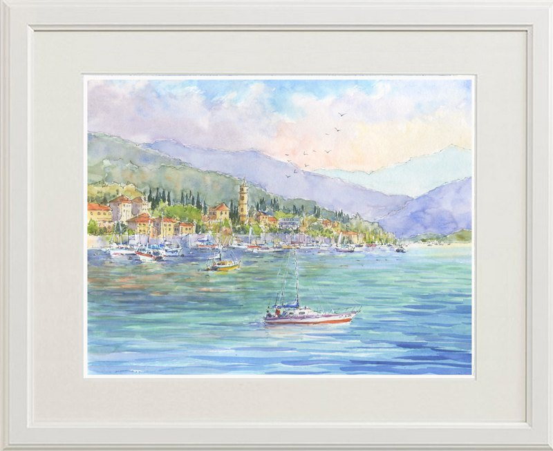 Watercolor picture masterpiece Lakeside of summer