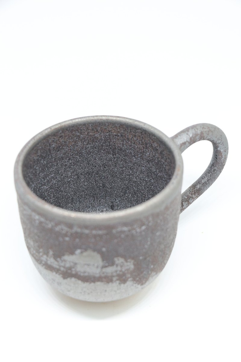 Metallic silver mug--handmade--hand made--casting--Glazed - Clay