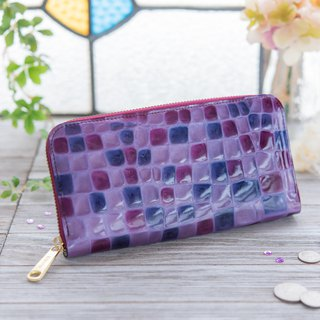 Japanese Manufacturers Cowhide Costume Coloring Glasses Purple made in JAPAN handmade leather wallet