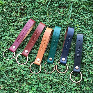 COPPER leather key ring // black plastic brown toffee blue wine red