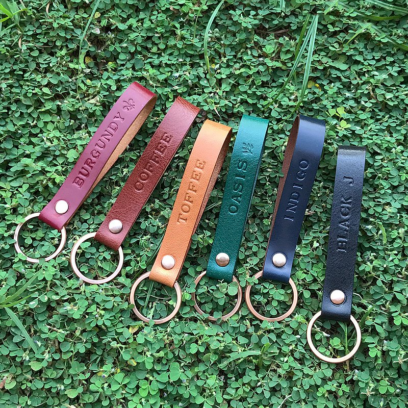 COPPER leather key ring charm // black plastic brown toffee blue wine red