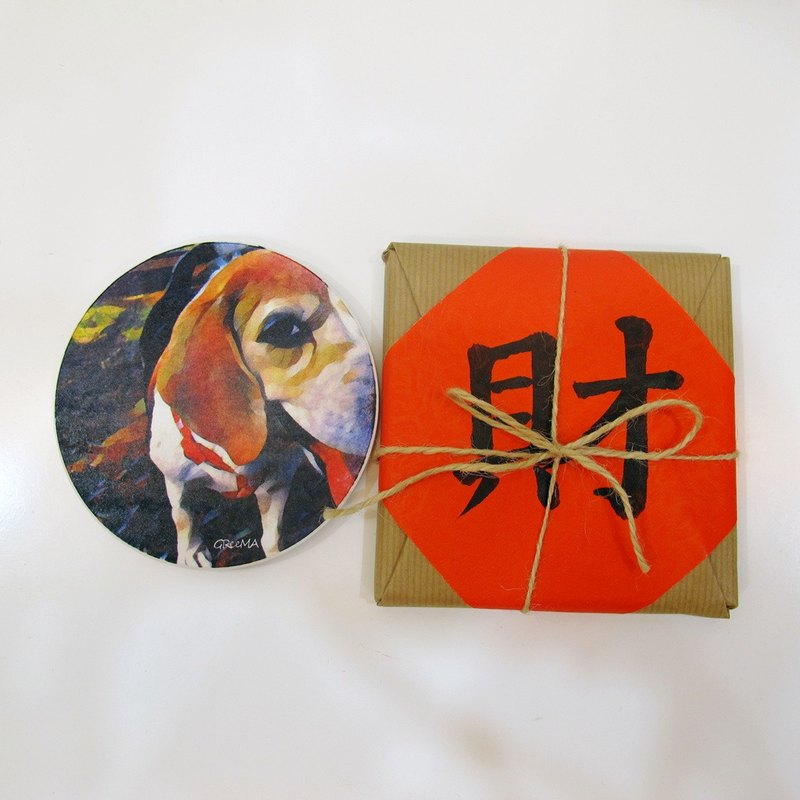 Oil painting style ceramic drinking coasters - MiGru Q will - Wangcai