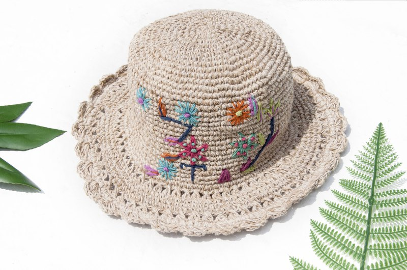Cotton hat woven hat fisherman hat visor straw hat hiking hat straw hat - handmade embroidery flowers