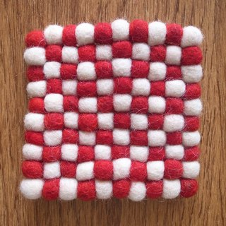 Cup coasters, Felt coasters Square 10cm Red