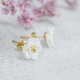 Plum ~ white porcelain flower tension back earrings ~ size Mini