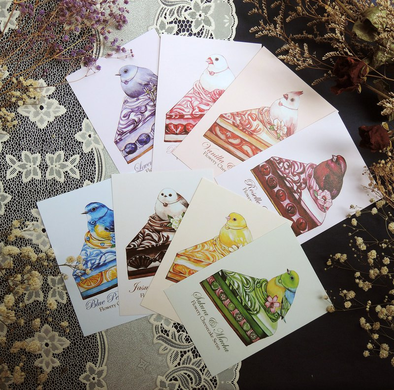 Floral Cheesecake Postcard Set