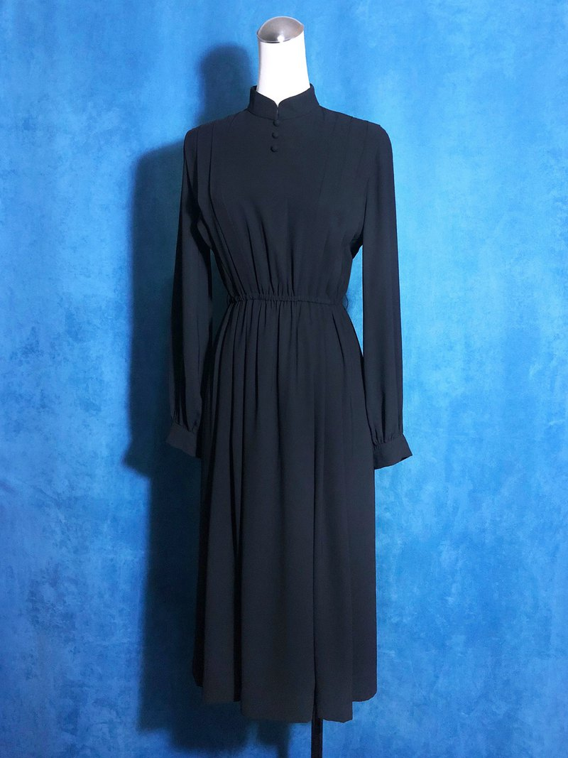 Pure black small collar long-sleeved vintage dress / abroad brought back VINTAGE