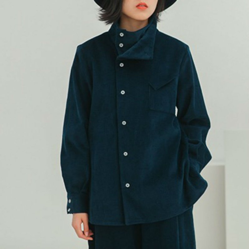 SPACE ODDITY deep lake blue oblique collar design corduroy shirt loose neutral wind cool coat