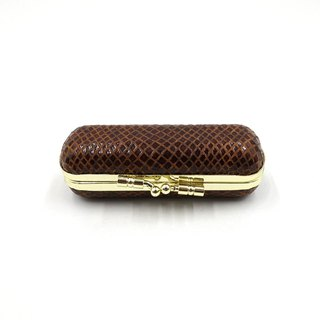 Leather stamp gold box / lipstick box / Italy goatskin / imitation snake pattern