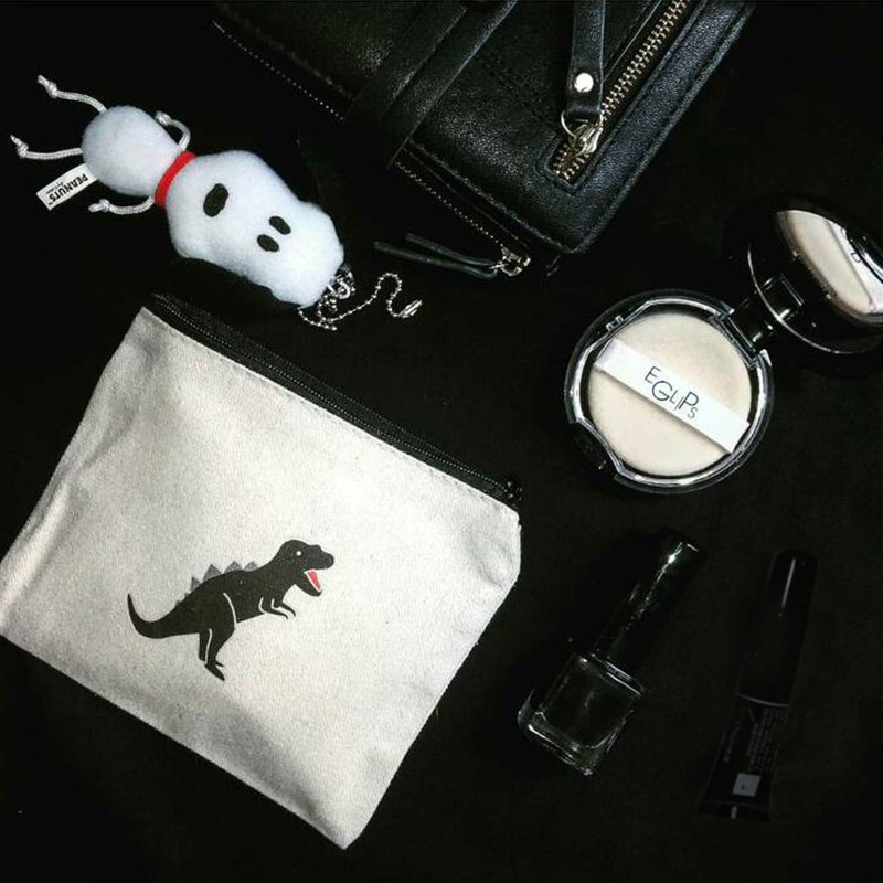 DINOSAUR Cold Black Tyrannosaurus - Canvas Coin Purse | Coin Bag | Black Zipper