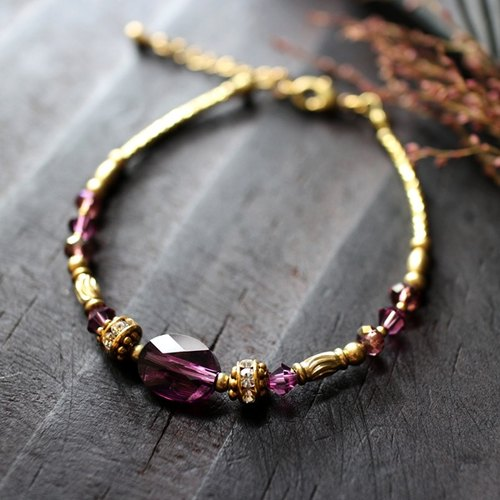 EF Crystal NO. 7 Purple Corrugated Crystal Brass Bracelet