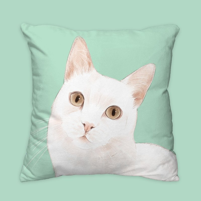 [I will love you forever] Classic white cat pillow animal pillow / pillow / cushion