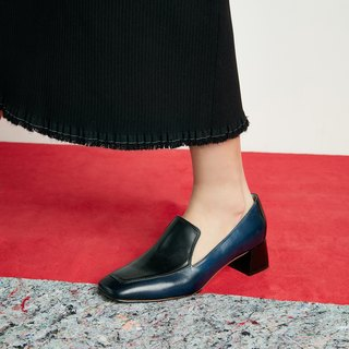 H THREE square head Lok Fu heel / Prussian blue with black / thick heel / retro