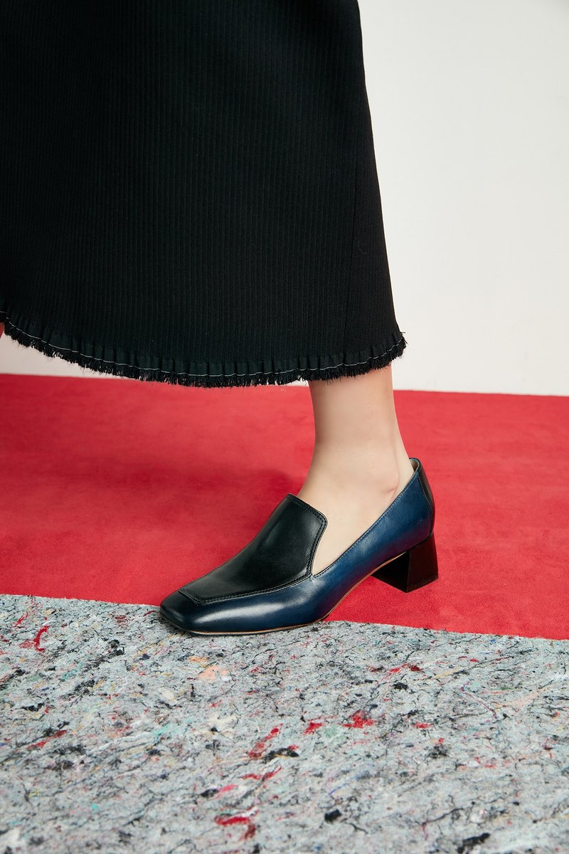 HTHREE 4.6 Square Loafers / Prussian Blue / Square Toe Loafers Heels
