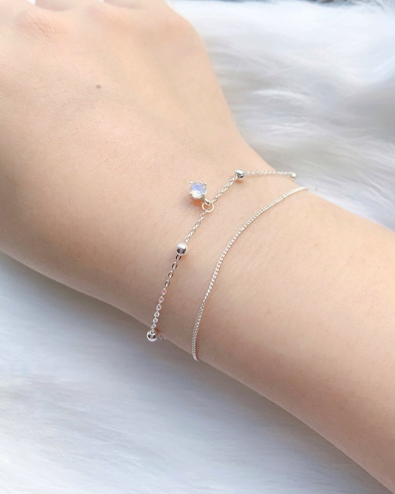 Moonstone 925 sterling silver diamond face claw design double-layer bracelet