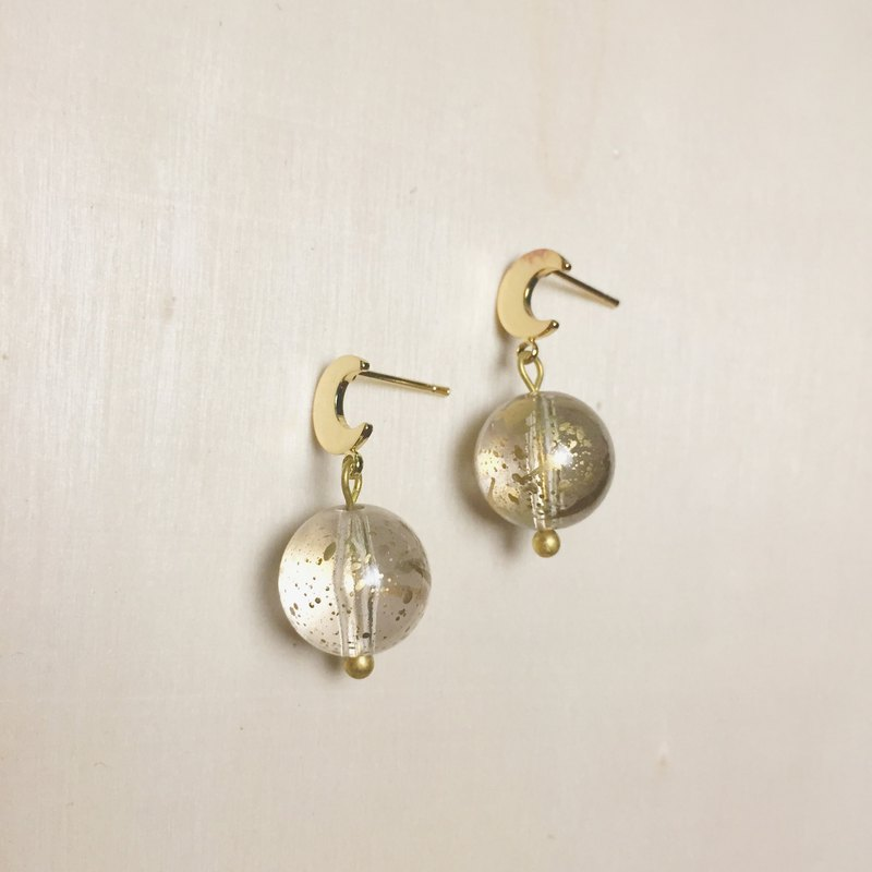 Vintage splash ink big round moon earrings