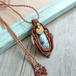 P09 Bohemian ethnic style South American wax braided brass labradorite necklace long necklace