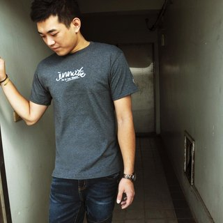 [] INNATE cursive logo Champion dark gray short Tee-