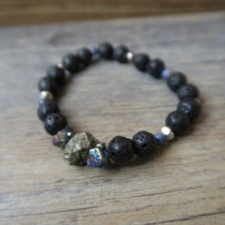 [Spiritual • Small hand-made] Black volcanic stone / Symphony ore / Pyrite / Blue-grained stone / Tibetan silver beads / natural stone neutral men and women bracelet gift