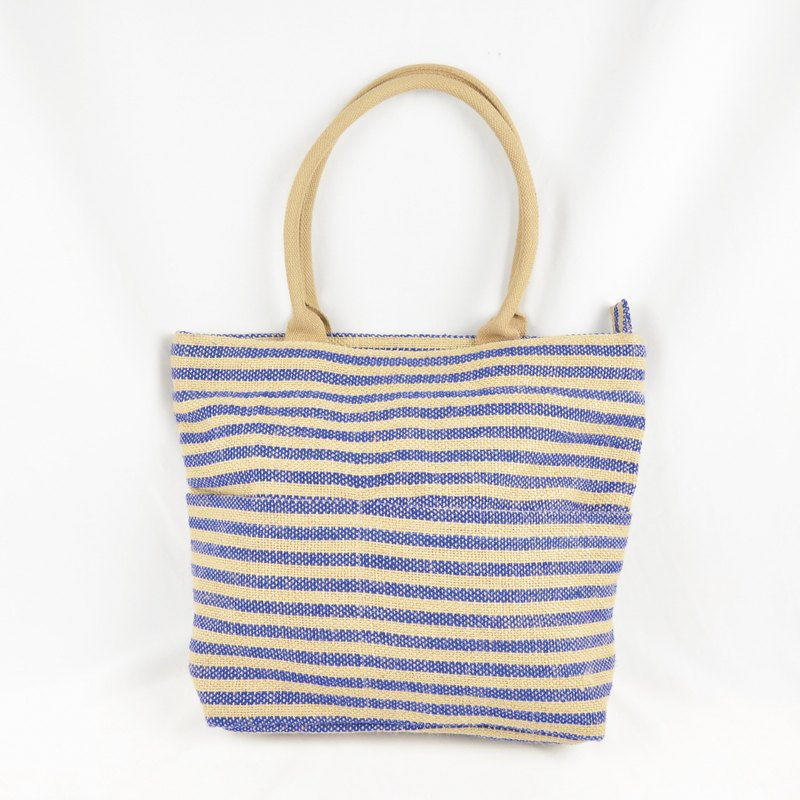 Live together cotton linen bag - salty sea - fair trade