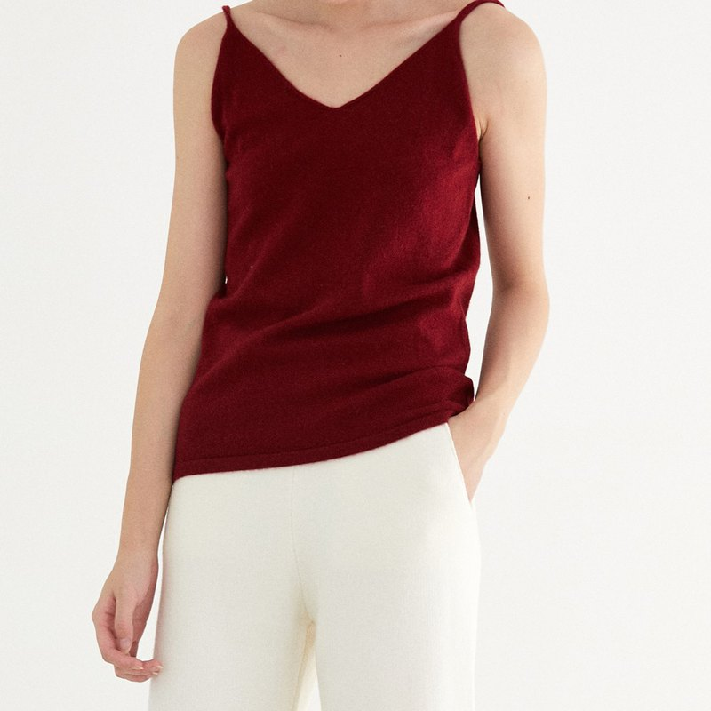 Wine red six-color pure wool V-neck sling base vest in the body with a soft skin winter artifact