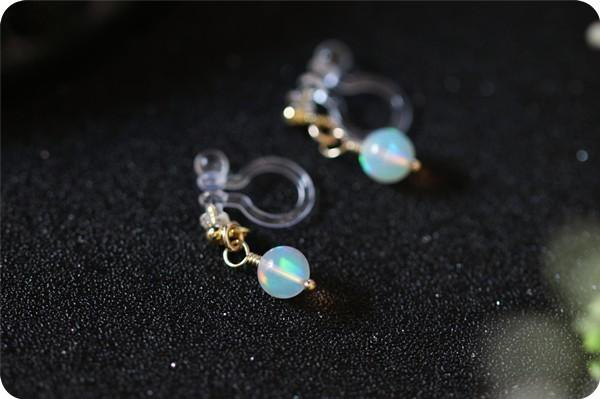 <Sparkle of the Universe> Halloween Opal Nonhole Piercing / Earrings October Birthstone