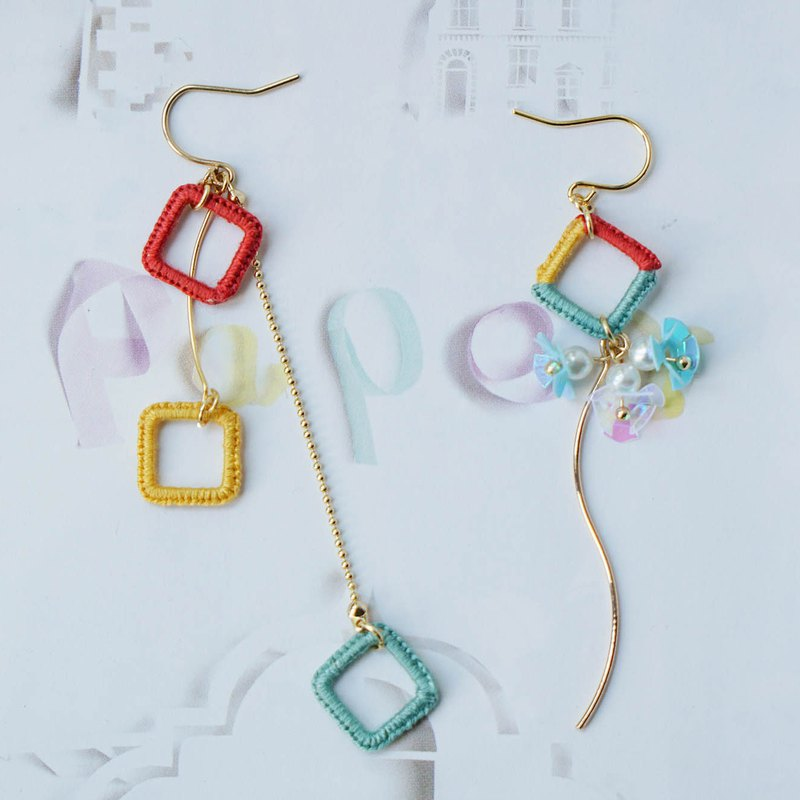 Deer chestnut original design earrings embroidered candy color geometric flowers Japan imported 18K gold interchangeable ear clip