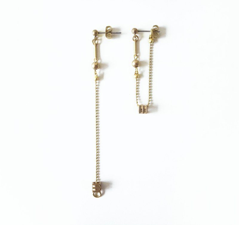 Original / Intersection - Brass Earrings 2way