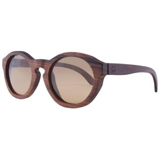 Plantwear European Handmade Solid Wood Sunglasses - Vintage Collection - Rosewood Solid Wood Frame + Cold Rin Brown Lens