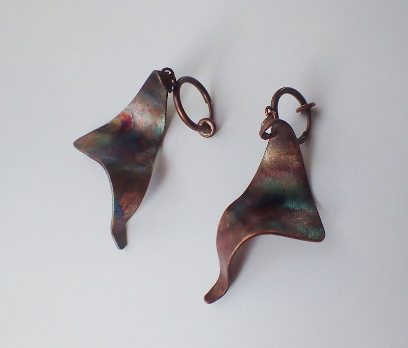 copper earrings, one pair