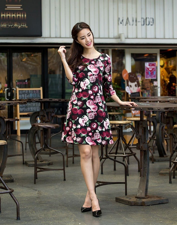 Seven-point wide-sleeved printed dress - flowers