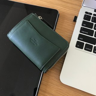 Coin zip leather purse /Green