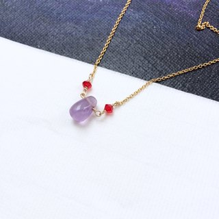 14K gold temperament amethyst droplet necklace