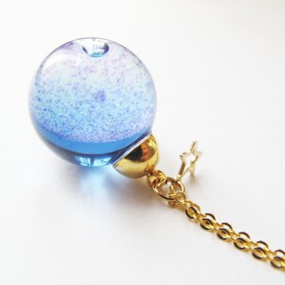*Rosy Garden* Purple galaxy liquid inisde gall ball necklace