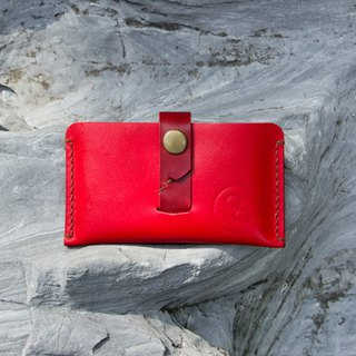 DUAL - Full leather hand-stitched large capacity simple business card holder - hi red