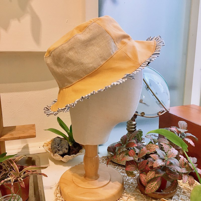 Stitching lace double-sided fisherman hat