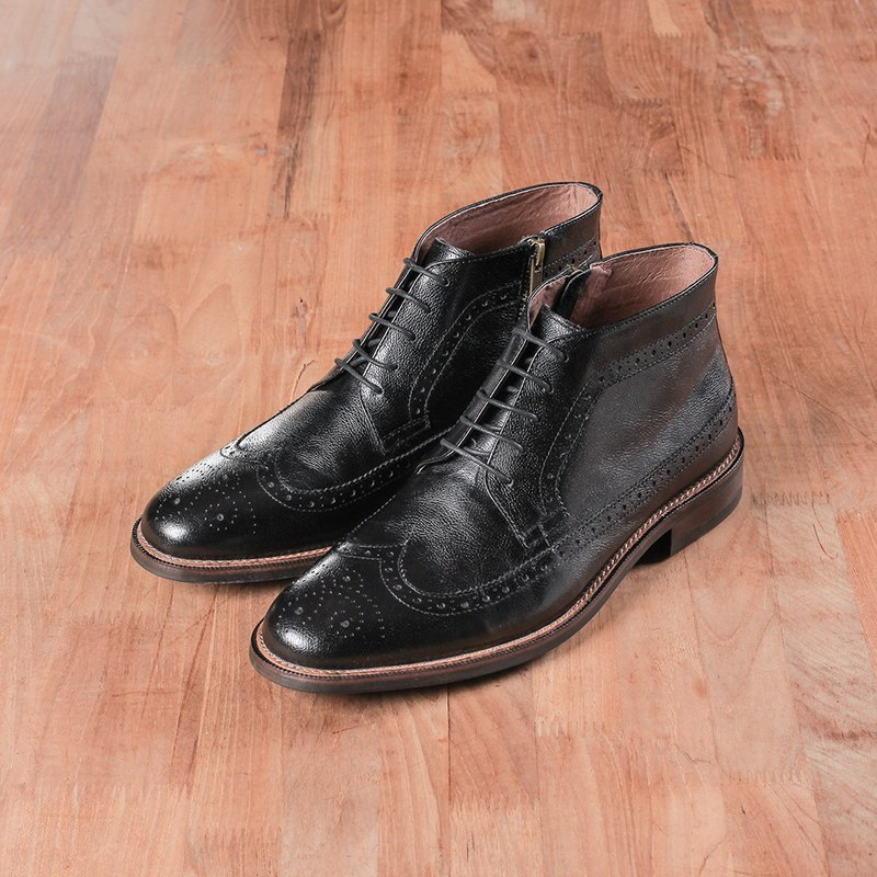 Vanger Yingshi Retro Derby Long Wing Ankle Boots - Va259 Black