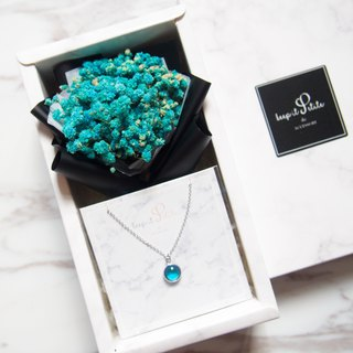 [Cloud stone gift box set - necklace] blue dry star bouquet + sky blue round stone necklace