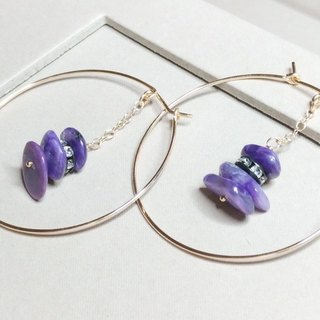 Purple Dragon Crystal Shard 14KGF Large Ring Earrings / Charoite beads with 14KGF