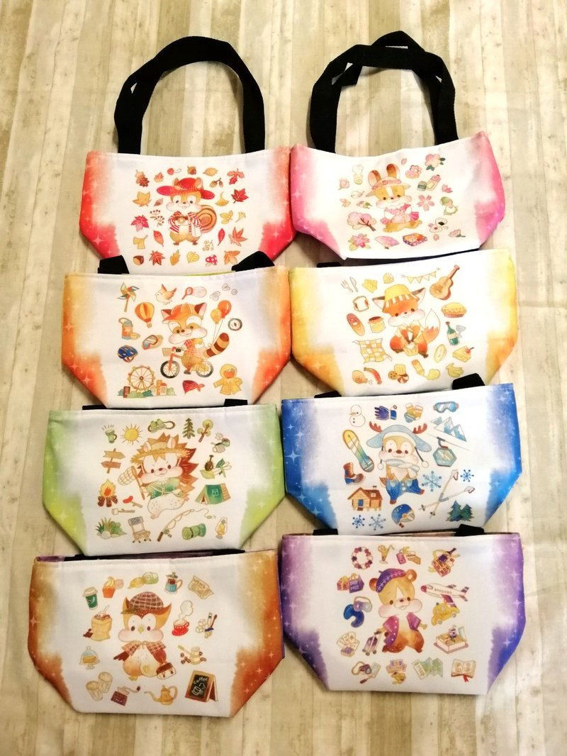 Universal magnetic buckle double-sided Q version travel animal small tote bag (cold color group)